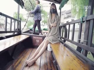 网红『北京天使』Fox - 上海锦溪古镇游船会极限挑战全裸4次